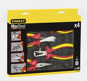 """Набор из плоскогубцев и кусачек электрика Stanley """"MaxSteel VDE 1000V"""", 4 предмета, 4-84-489 4-84-489 Stanley"""