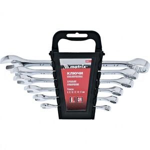 Набор ключей комбинированных, 6-17 мм, 6 шт, CrV, полированный хром Matrix