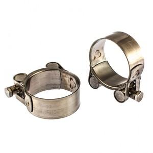 Хомуты металлические, силовые 44-47 мм, ширина 22 мм, шарнирный, W4, 2 шт Сибртех