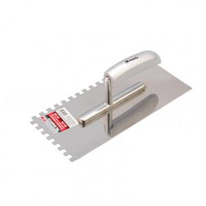 Гладилка из нержавеющей стали, 280 x 130 мм, деревянная ручка, зуб 8 x 8 мм 86739 MATRIX