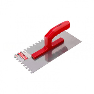 Гладилка стальная, 280 x 130 мм, зеркальная полировка, пластмастмассовая ручка, зуб 10 x 10 мм 86779 MATRIX