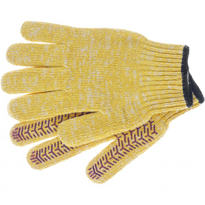 Перчатки трикотажные усиленные, гелевое ПВХ-покрытие, 7 класс, желтые Россия 68180 СИБРТЕХ